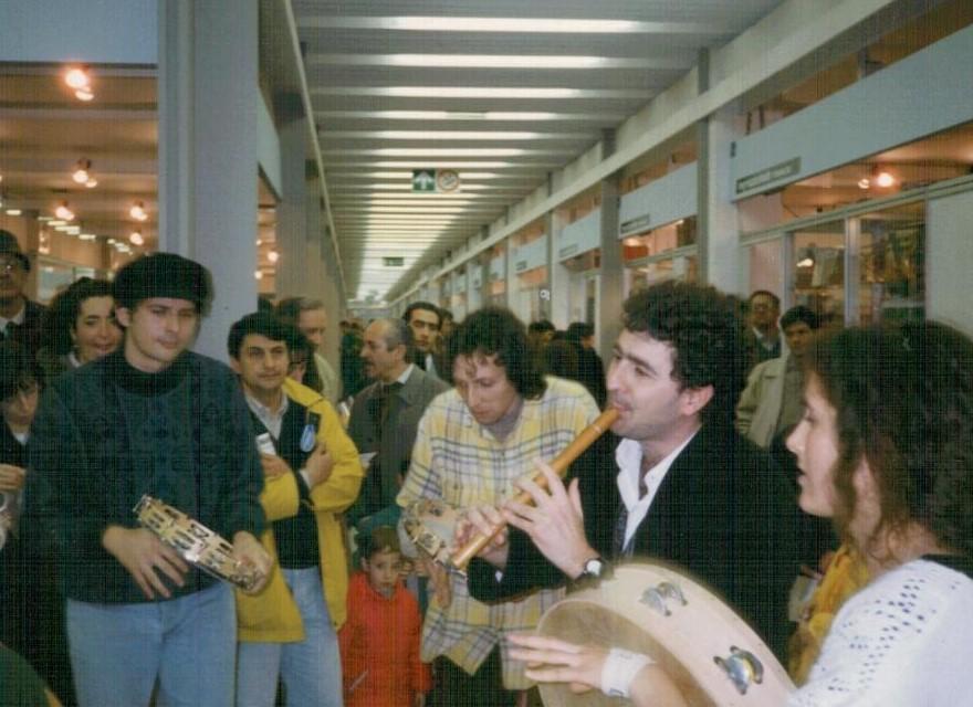 Bari. Expolevante 1993. Da sinistra: Umberto De Palma, Gigi Celestino, Nico Berardi, Monica Giametta